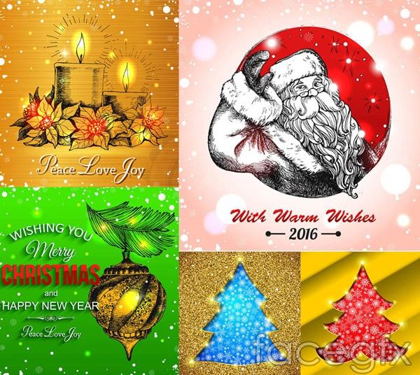 Christmas tree and Santa Claus vector
