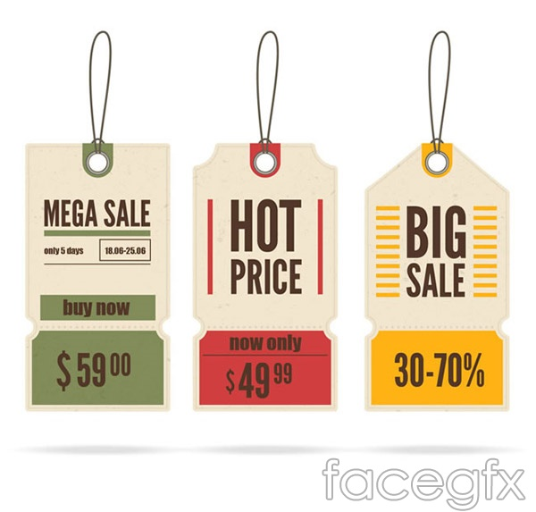 Color promotional tag vector