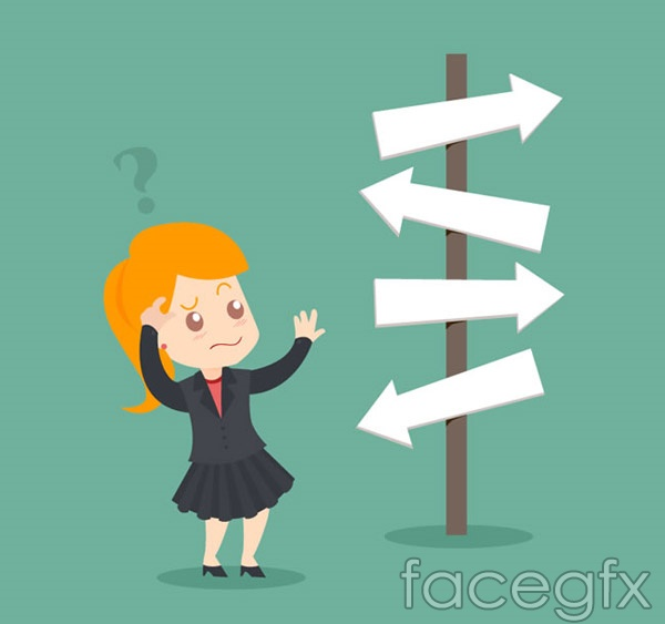 Confused business woman vector