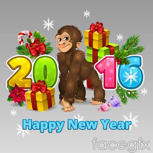 Cute monkey card vector