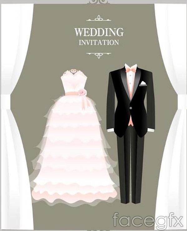 Korean style wedding invitations vector