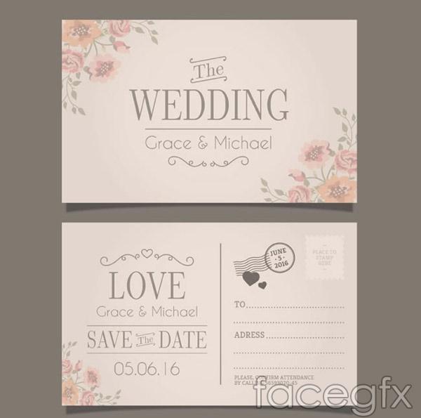 Postcard wedding invitations vector