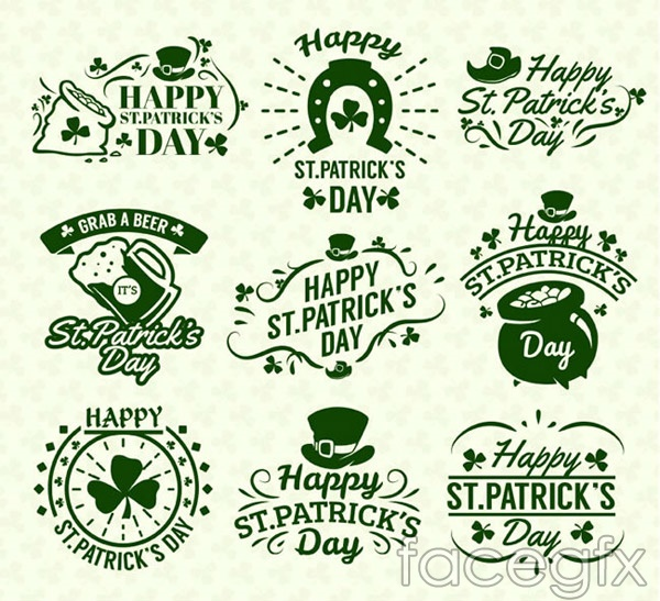 Saint Patrick's day labels vector