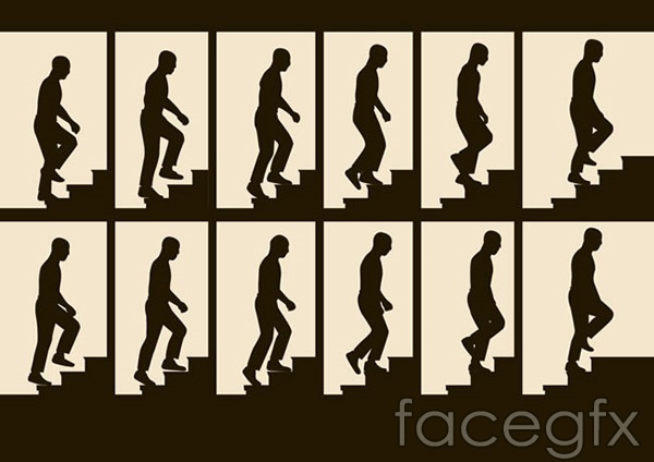 Step on people silhouette vector
