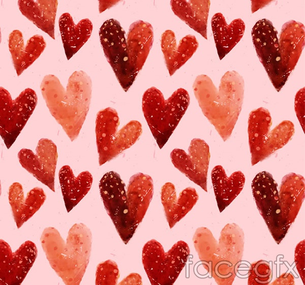 Watercolor love seamless background vector