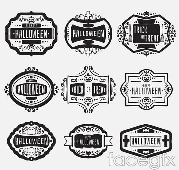 Black Halloween labels vector