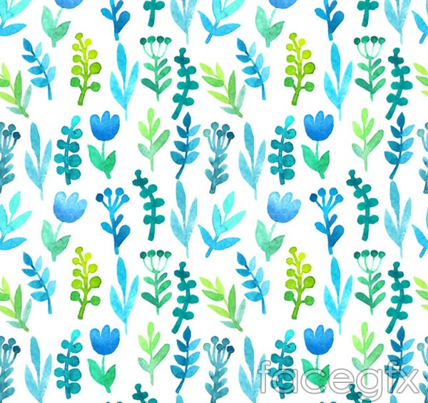 Blue-green water color flower background vector