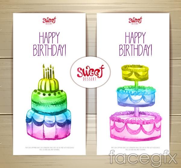 Cake birthday card vector