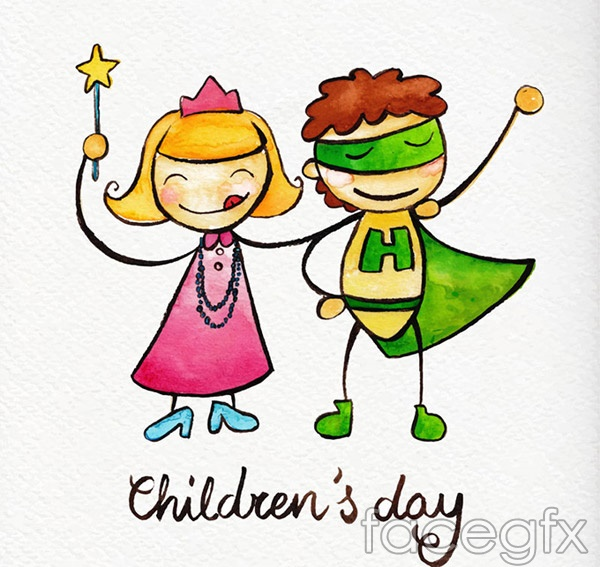 Cartoon children's painting vector