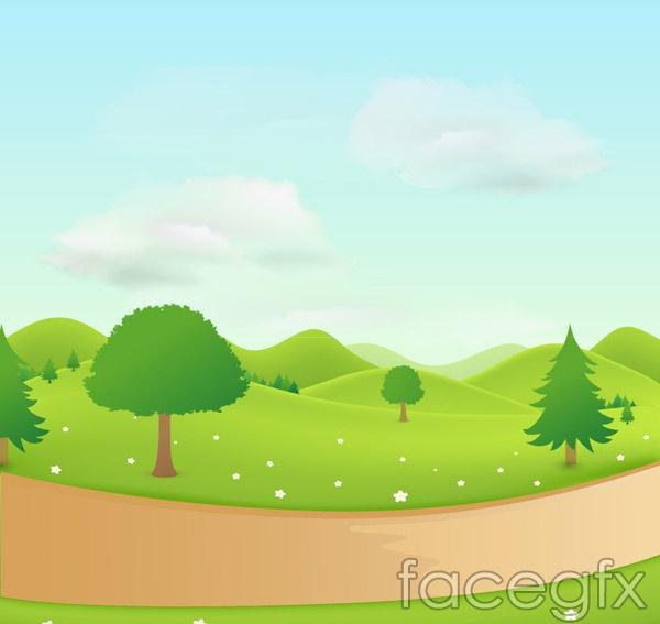 Cartoon country road landscape vector