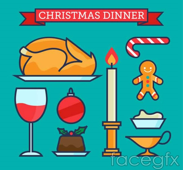 Christmas meal elements vector