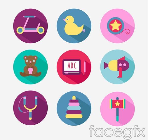 Circular toy icons vector