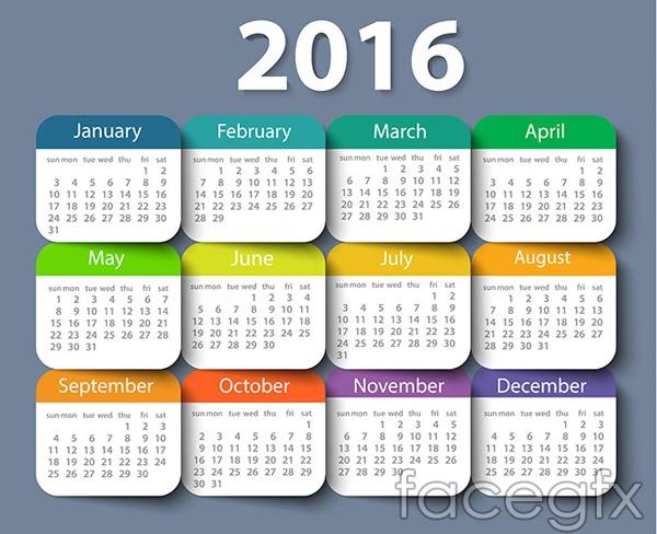 Color 2016 calendar vector