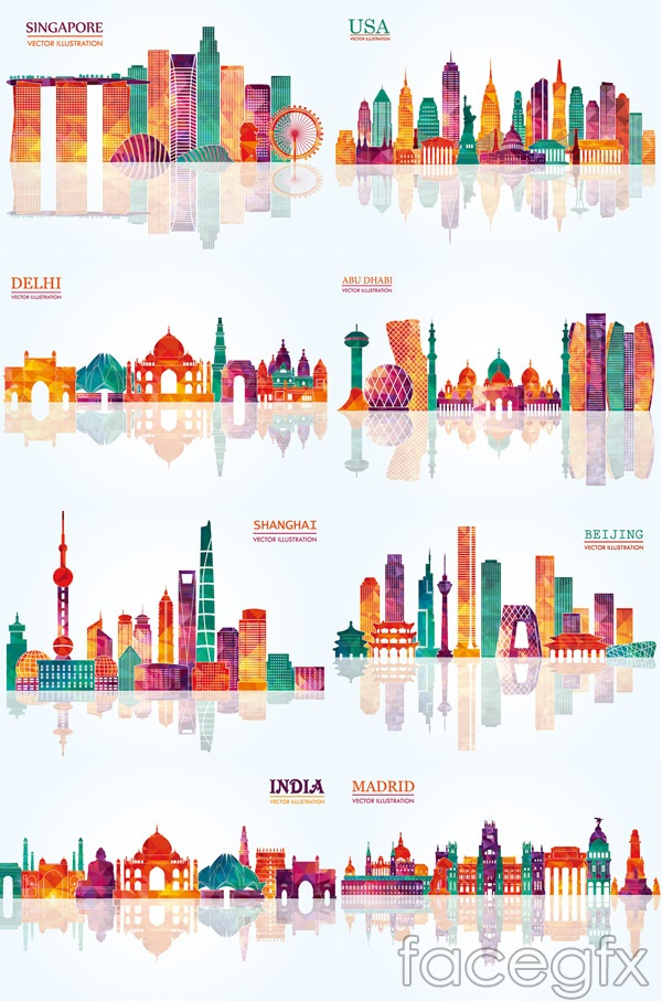 Colorful geometric city silhouette vector