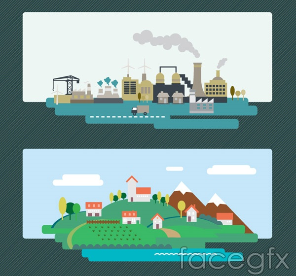 Factory and village card vector