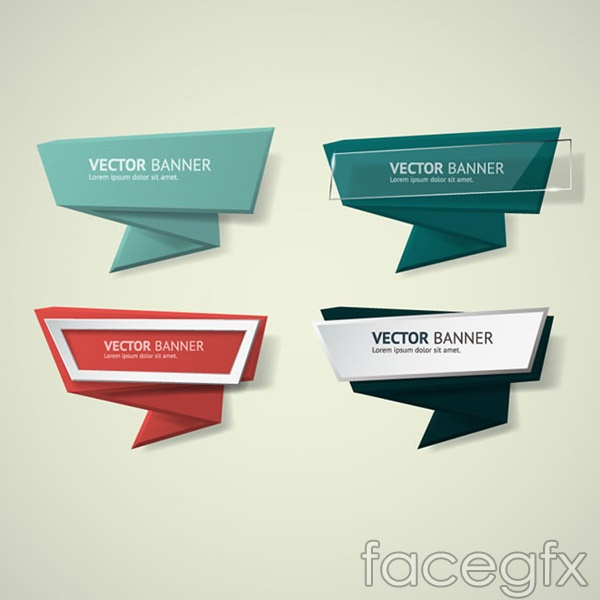 4 Geometric paper banner vector