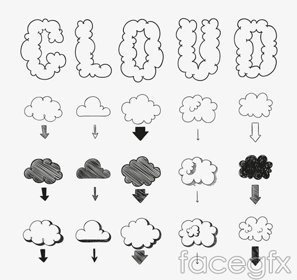 Hand-painted cloud design vector