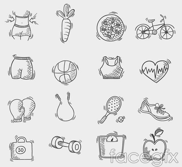 Hand-painted fitness icon vector