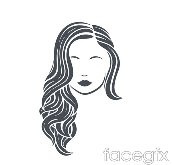 Long curly hair woman picture vector