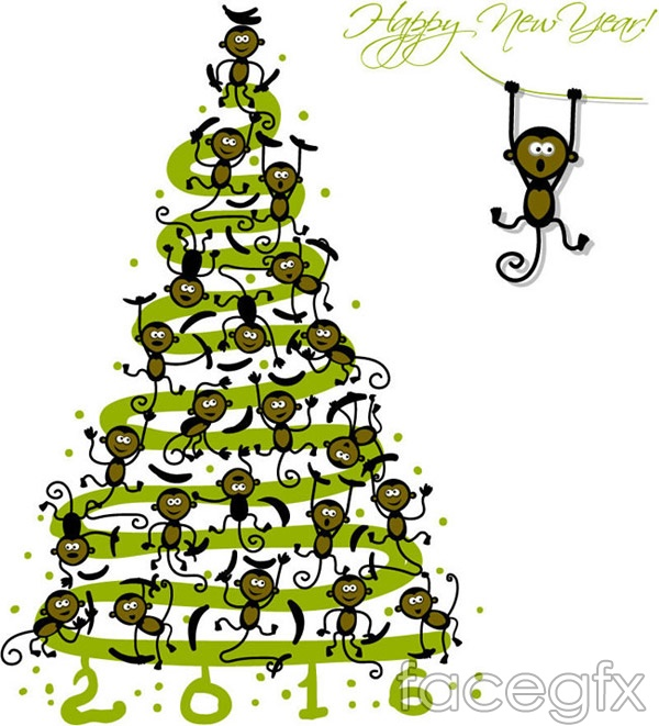 Monkey Christmas tree greeting cards vector