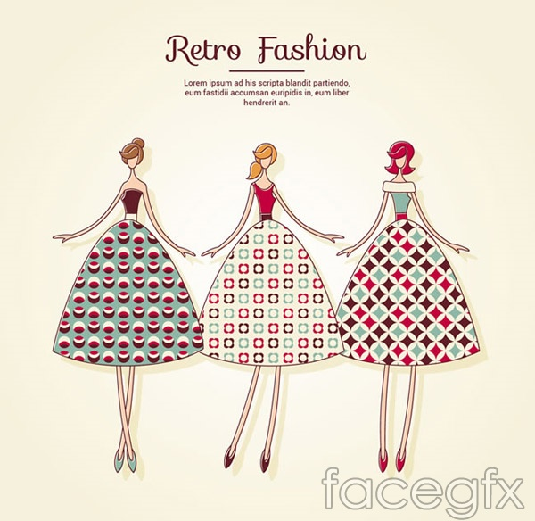 Retro dresses women vector