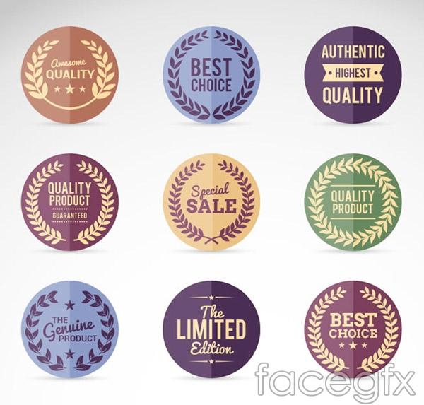 Retro round promotional labels vector