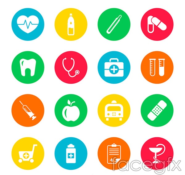Round medical icons vector