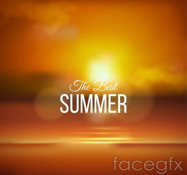 Summer evening shore vector