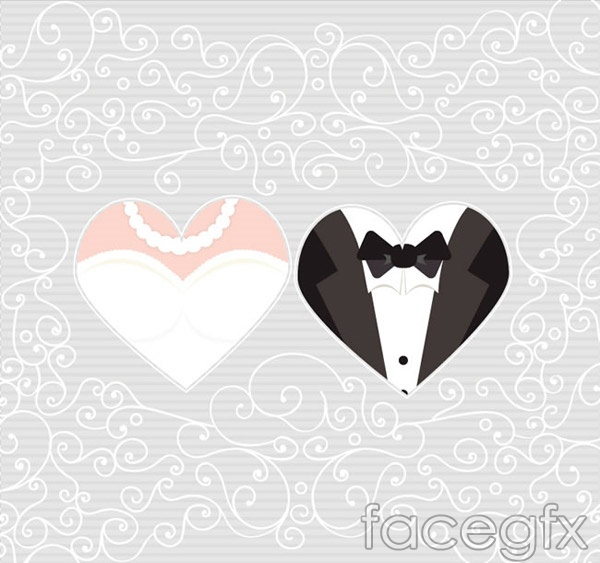 The bride and groom pattern background vector