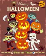 Halloween character and pumpkin head vector