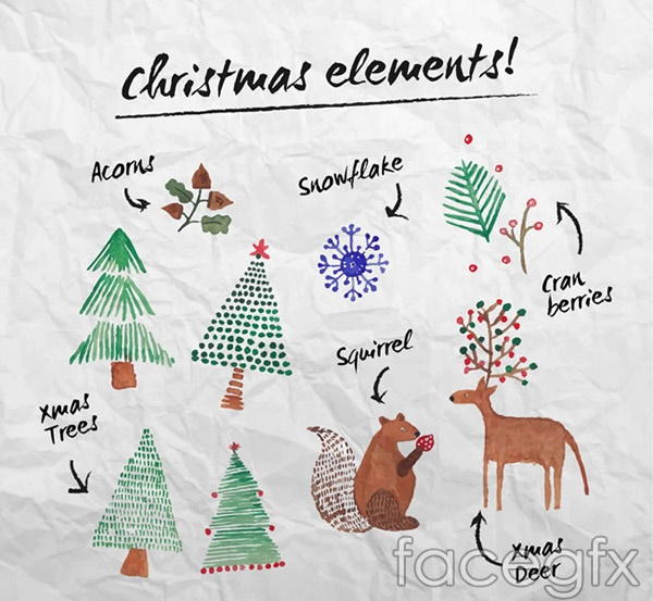 Water painting Christmas elements vector