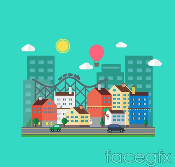 Cartoon city illustrations vector