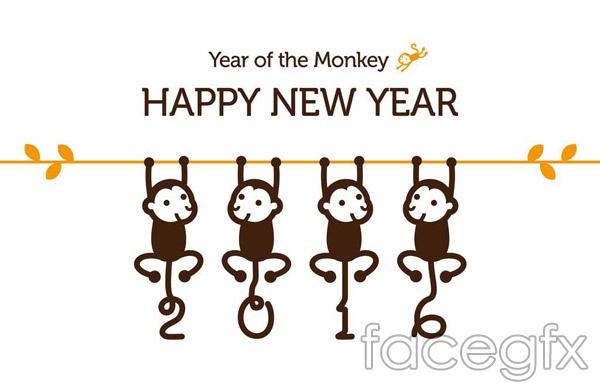 Cartoon happy new year 2016 vector