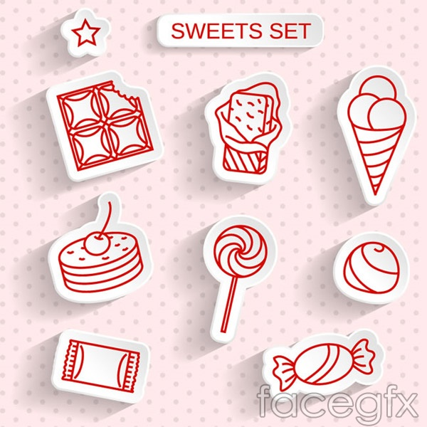 Delicious desserts stickers vector
