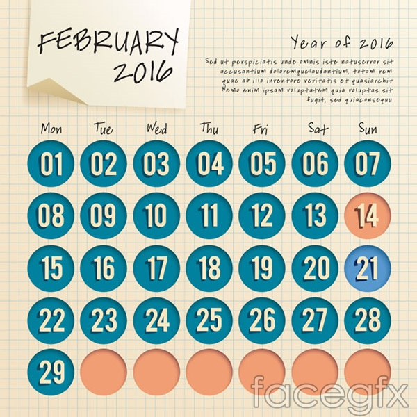 February 2016 calendar vector