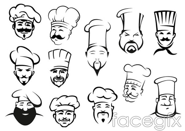 Hand-painted Cook head vector