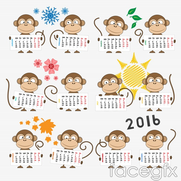 Monkey calendar vector