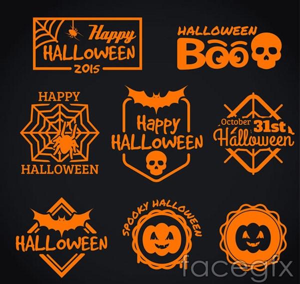 Orange Halloween labels vector
