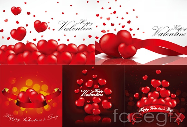 Red heart Valentine's day vector