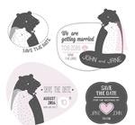 Cartoon wedding labels vector