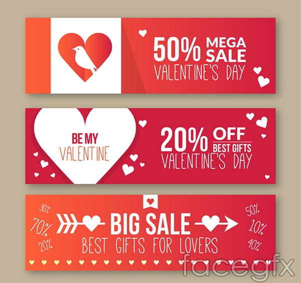 Valentine's day promotions banne vector