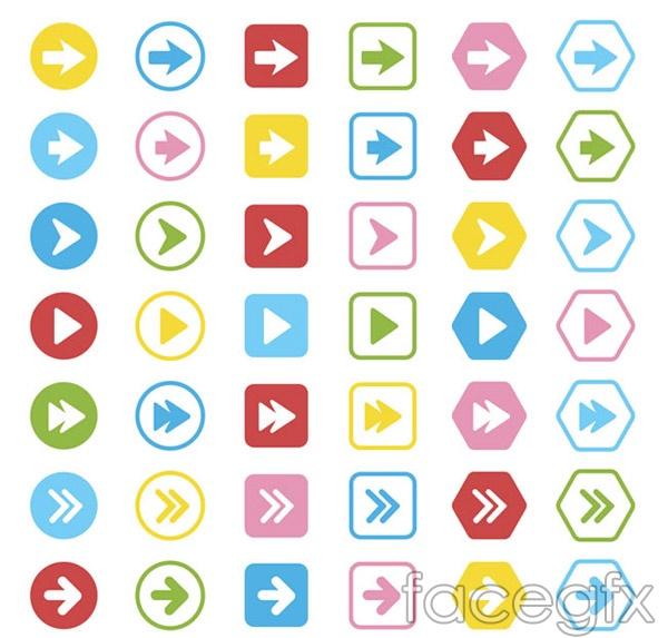 Colored arrows button vector