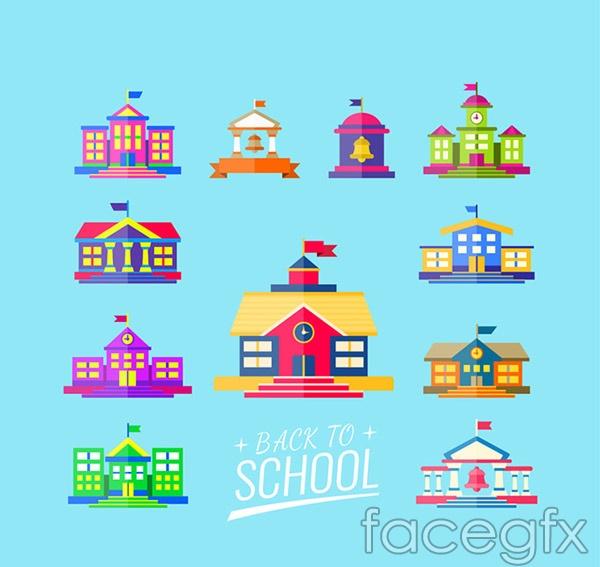 Colored campus buildings vector