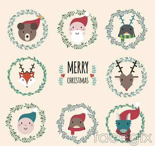 Cute Christmas character head vector