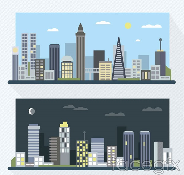 Day and night building vector