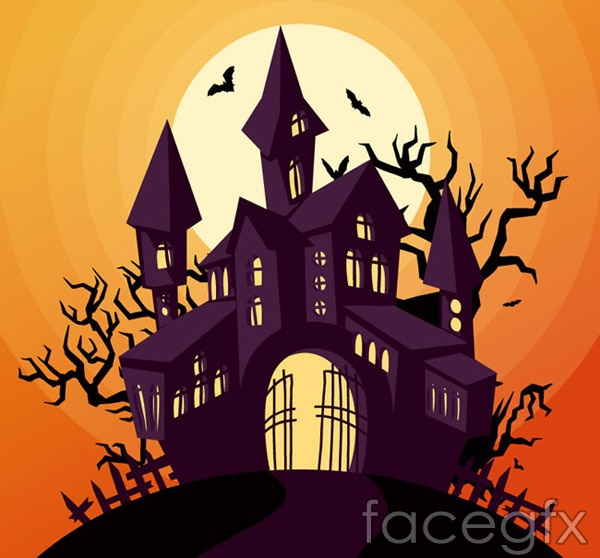Halloween Castle design vector