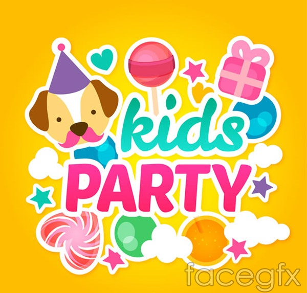Kids party cards vector