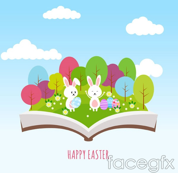 Rabbits and Easter eggs vector
