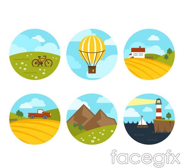 Round landscape icon vector
