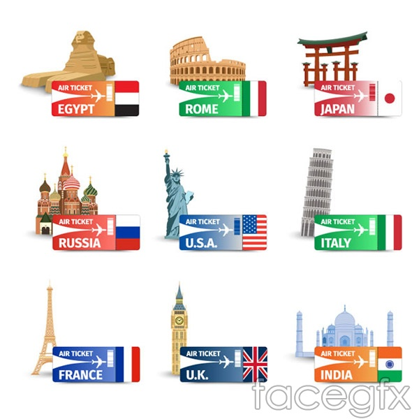 The sights of the world and airline tickets vector